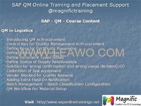 sap qm tutorial pdf quality management with sap erp 6 0 ehp5 online training
