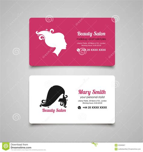 beauty salon business card design template with beautiful
