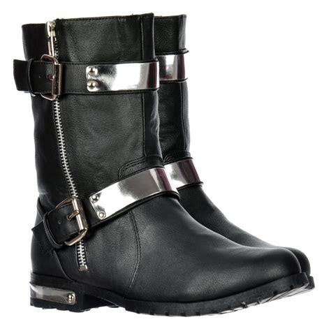 shoekandi biker ankle boot chrome metal heel and trim