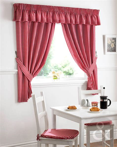 checked kitchen curtains gingham check kitchen curtains ready made pencil pleat net