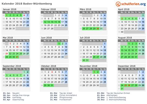 Kalender 2018 Feiertage Ferien Bw Kalender 2018 Ferien Baden W 252 Rttemberg Feiertage