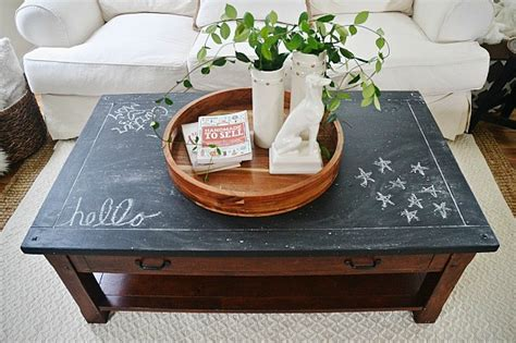 chalkboard paint easy to cover up chalkboard top coffee table makeover liz