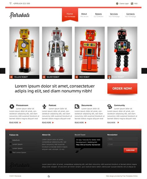 free online store website template