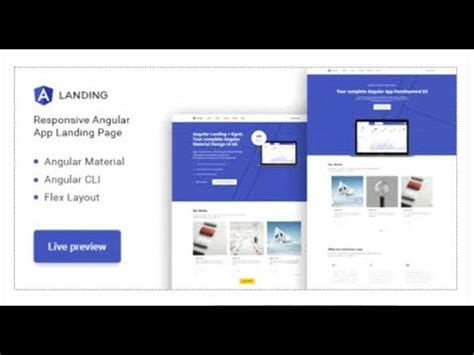 Angular Landing Material Design Angular App Landing Page Themeforest Templates Youtube Angular Landing Page Template