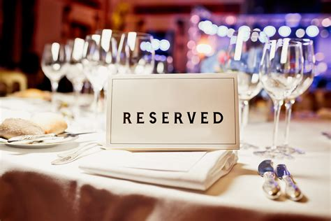 reserved tables for important the compliance and