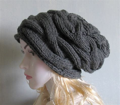 slouchy cable knit beanie slouchy hat slouchy beanie cable knit winter hat
