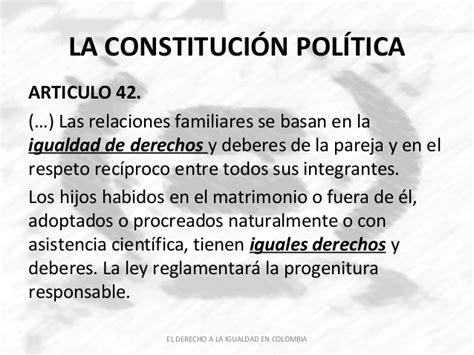 articulo 43 de la constitucion politica de colombia el derecho a la igualdad