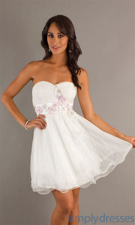 Strapless short white dress white party dresses simply dresses