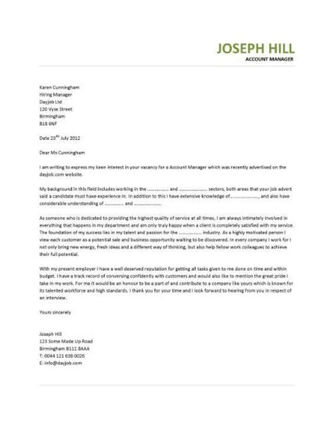 Cover Letter For Account Executive by Cover Letter Exle Account Manager Covering Letter Exle