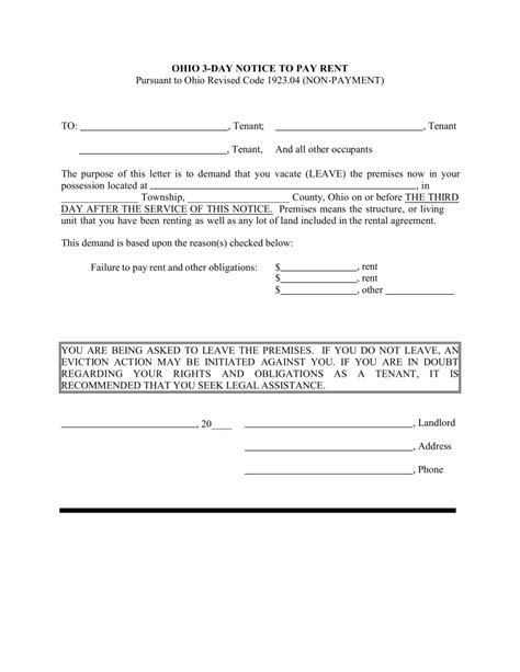 free printable eviction notice ohio free affidavit of non tenancy in the philippines