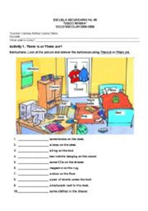 worksheet things in a bedroom