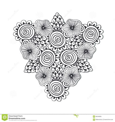 unique mandala coloring pages unique triangle mandala with flowers zentangle hand drawn