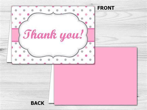printable thank you cards foldable thank you card printable folded thank you card pink polka