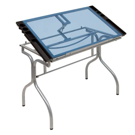 Collapsible Drafting Table Studio Designs Folding Glass Top Craft Station 13220