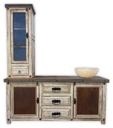 bathroom vanity tower woodland 72 quot rustic vanity with tower metal panels
