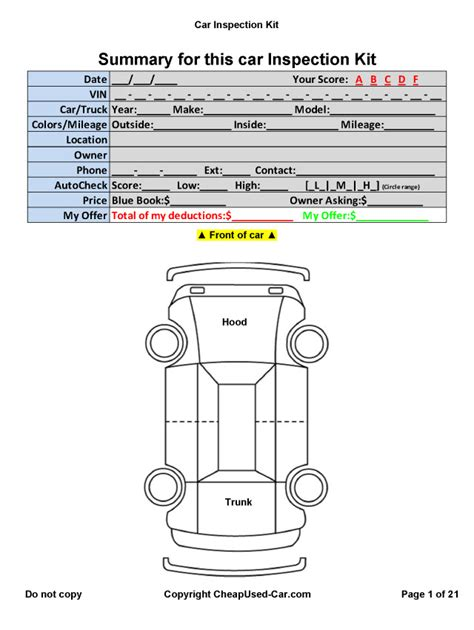 vehicle check sheet template free truck walk around inspection diagram truck damage