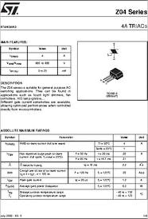 transistor z0409mf z0405 datasheet 4a triacs