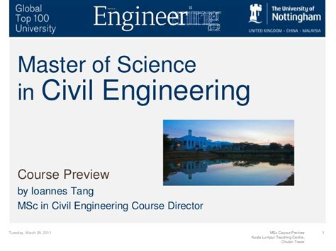 masters degree in engineering master of science in civil engineering course preview