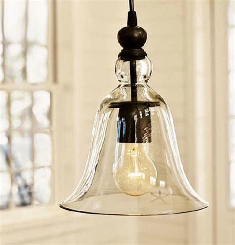 kitchen light pendant loft antique clear glass bell pendant lighting