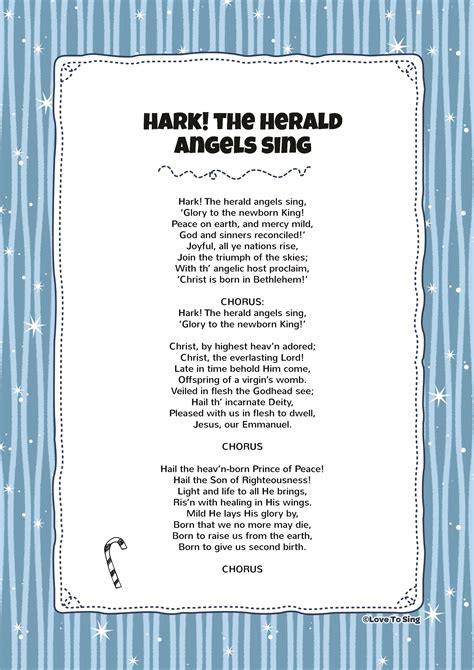 printable lyrics hark the herald angels sing hark the herald angels sing kids video song with free