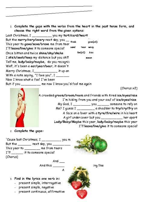 last christmas lyrics printable version song worksheet last christmas