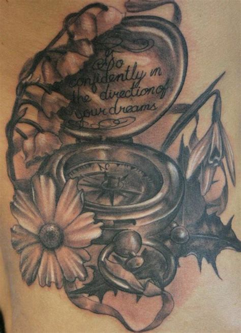compass tattoo with flowers the gallery for gt compass tattoos with quotes