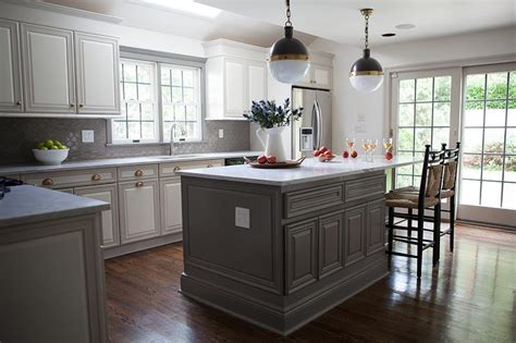 White Kitchen Gray Island by Gray Center Island With Three Glass Lanterns