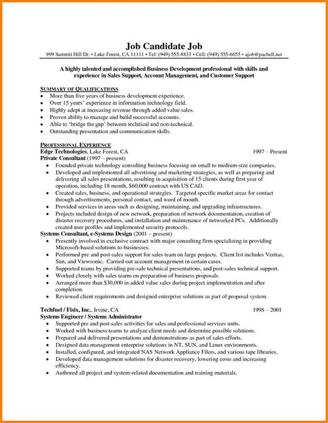 sles of resume for 6 technical sales resume exles g unitrecors