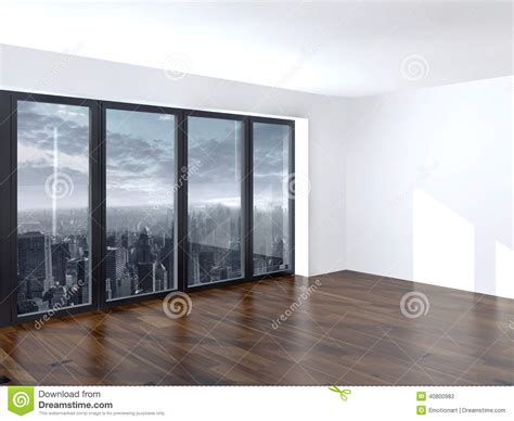 Empty Living Room Window Empty Apartment Living Room With A View Window Stock