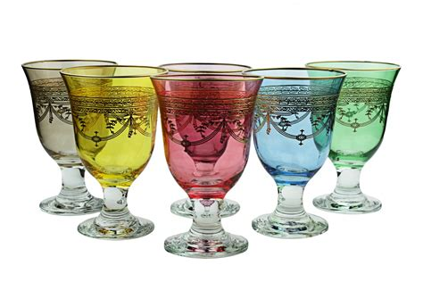 colored wine glasses set of 6 colored wine glasses with rich gold design