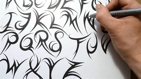 tribal letter tattoo designs how to draw a tribal font