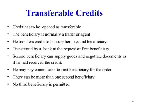 Credit Transfer Template Letter Of Credit