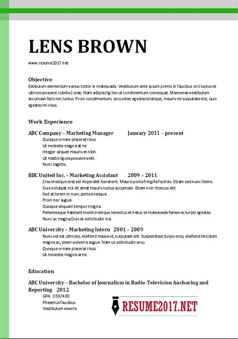 Resume Template 2017 Chronological Chronological Resume Format 2017