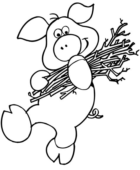 the three little pigs coloring page pig carrying sticks