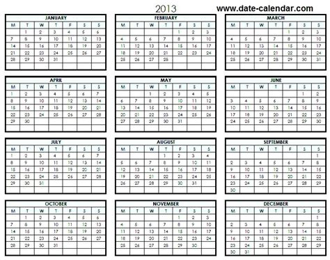 printable calendar year on one page pin 2013 printable one page excel houses plans designs on