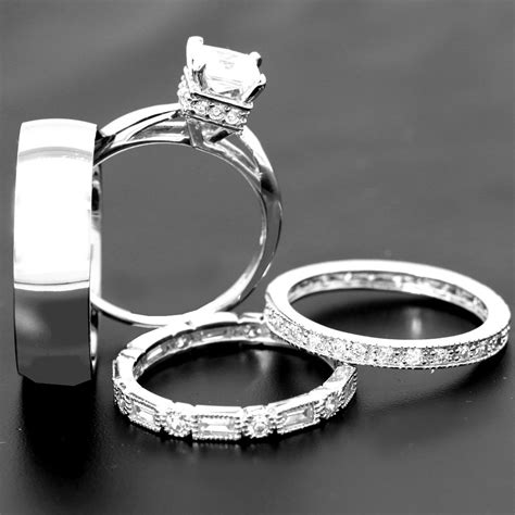 4 his and hers titanium sterling silver wedding bridal