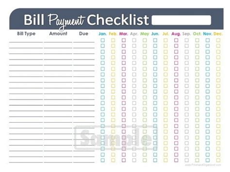 Bill Payment Checklist Printable Editable Personal Finance Organizing Pdf Instant Download Personal Financial Organizer Template