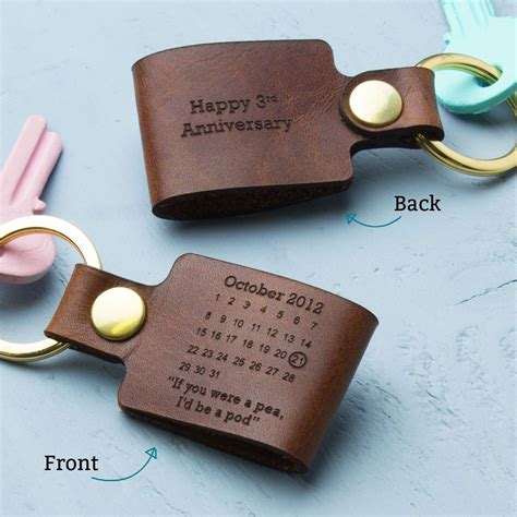 Wedding Anniversary Ideas Him personalised third wedding anniversary leather keyring