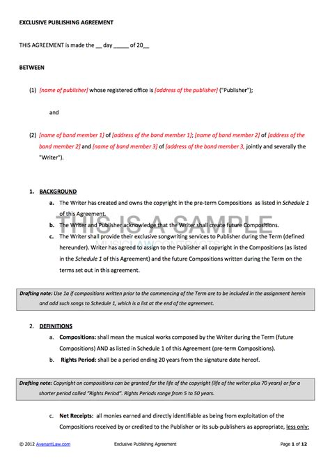 Music Publishing Contract Template Exclusive Songwriter Agreement Template