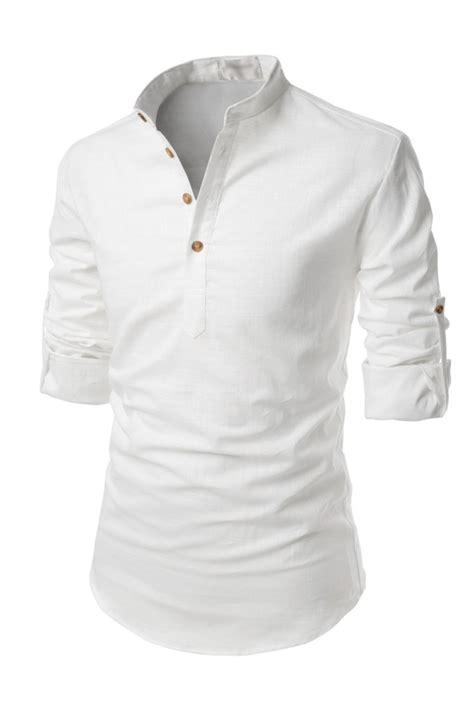 Sleeves Linen Shirt mens white henley mandarin collar roll up sleeved