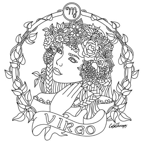 coloring pages for adults zodiac virgo zodiac beauty colouring page adult colouring
