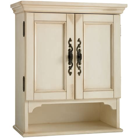 Vintage Bathroom Cabinet Shop Estate By Rsi Vintage W X 28 In H X 7 75 In D Antiqued White Bathroom Wall Cabinet At Lowes