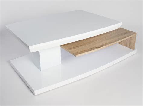 table basse design en bois blanc laqu 233 ch 234 ne clair sulina