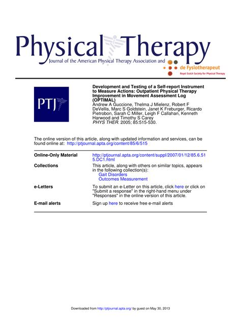 physical therapy report sle development and testing of a self report pdf