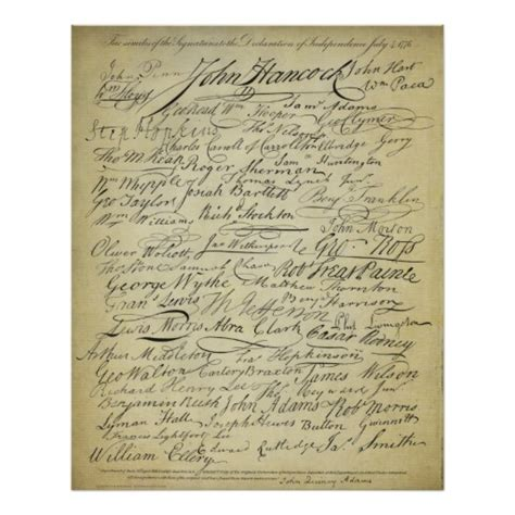 printable declaration of independence signers of the declaration of independence print zazzle