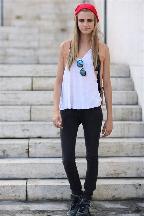 casual model girl cara delevingne with tomboy style itomboys