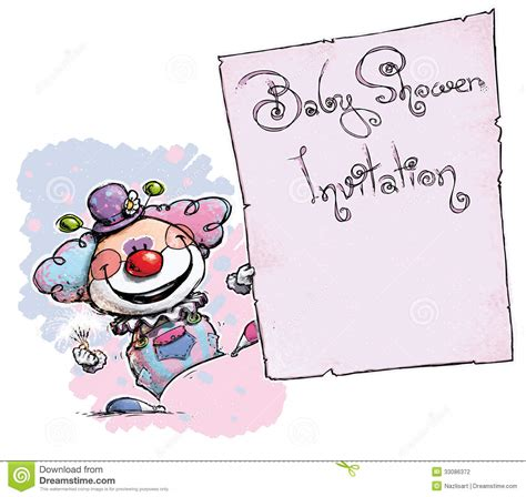 Holding A Baby Shower by Clown Holding Invitation Baby Shower Stock Vector Image