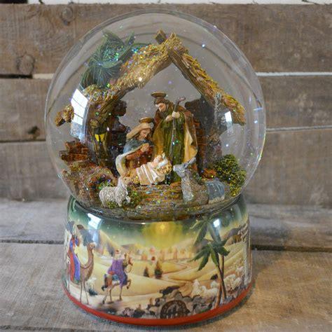 winter scene snow globes large nativity musical snow globe no 50044 barretts of woodbridge
