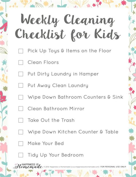 kids bedroom cleaning checklist weekly cleaning checklist for kids happiness is homemade