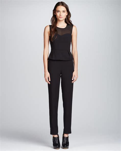 Set 2in1 Peplum Joan bcbgmaxazria sheertop peplum jumpsuit in black lyst